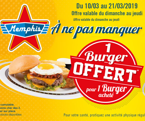 Bon plan n°248: Memphis Coffee – Burger GRATUIT