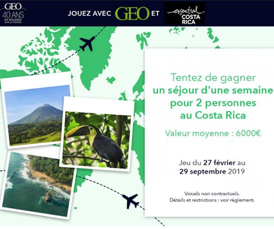 Jeu-Concours Gratuit : GEO – Séjour pour 2 au Costa Rica