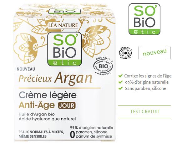 Test Gratuit: SO'BIO Etic– Crème Légère Anti-Âge
