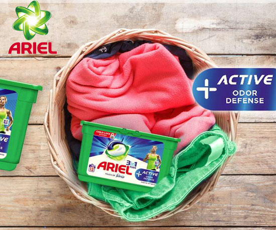 Test Gratuit : Ariel – 3en1 Pods+Active Odour Defense
