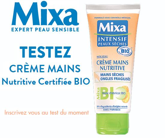 Test Gratuit : Mixa – Crème Mains Nutritive Certifiée BIO