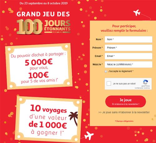 cadeaux grâce au jeu des 100 jours étonnants De La Marque Auchan