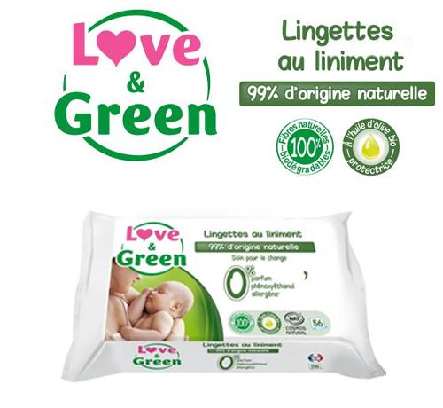 Lingettes bébé de la marque Love & green