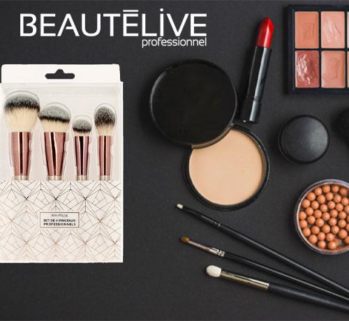 Pinceaux maquillage professionnels Rose Gold de la marque Beautélive