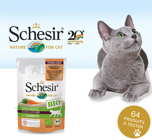 Croquettes Bio pour les chats adultes stérilisés de la marque Schesir