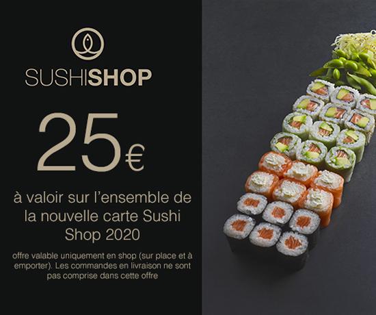 Bon d'achat sur 25 euros de la marque Sushi Shop