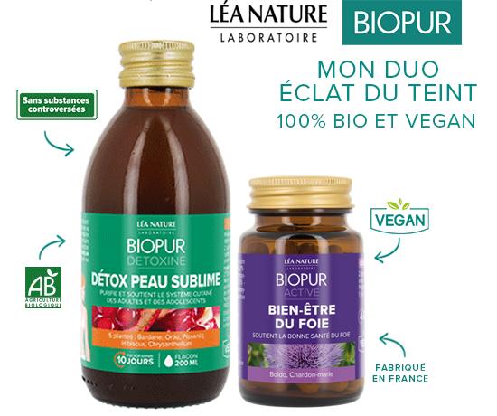 Duo détox éclat du teint de la marque Biopur des Laboratoires Léa Nature