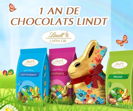 Participez au Grand Jeu de Pâques et remportez 1 an de chocolats de la marque Lindt