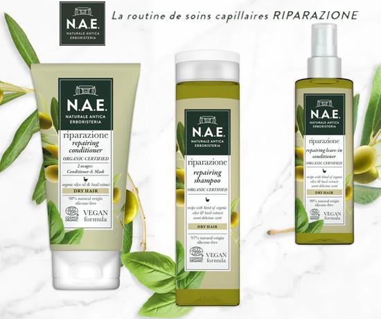 Routine Capillaire de la gamme RIPARAZIONE de la marque N.A.E