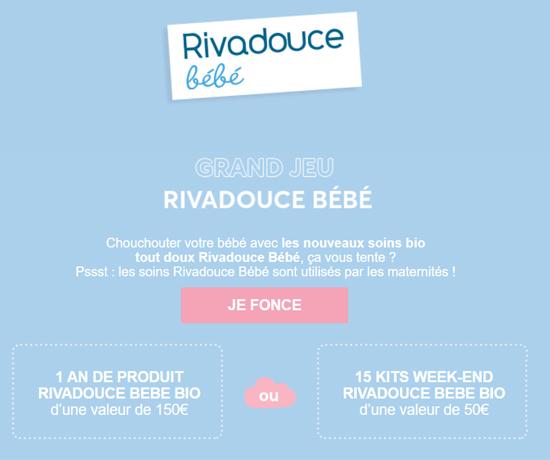 Participez au Grand Jeu Rivadouce Bébé et remportez des cadeaux pour bébé et parent