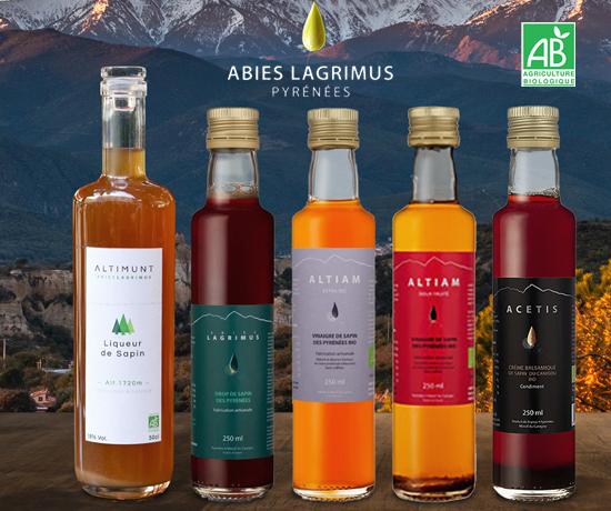 Gamme de condiments bio et d'origine naturelle à base de sirop de sapin de la marque Abies Lagrimus
