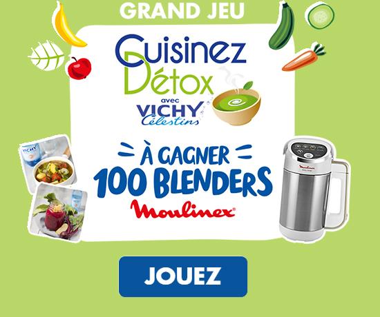 Participez au Grand Jeu Concours Vichy Célestin et remportez des lcadeaux et blenders Moulinex pour une cuisine détox !