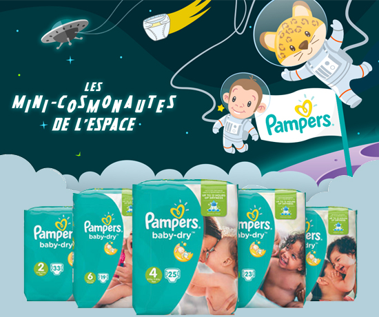 Gamme Baby Dry et kit spatial pour bébé de la marque Pampers