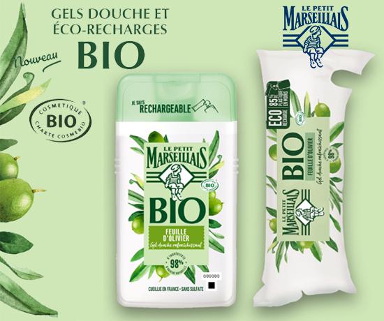 Gels Douche et Eco-Recharges Bio de la marque Le Petit Marseillais